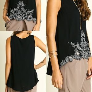 White Floral Embroidered Black Tank Top